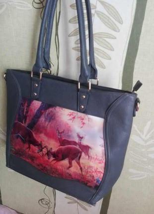 Большая вместительная сумка шоппер с 3d принтом серого цвета