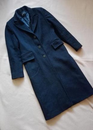 Длинное чёрное шерстяное пальто бойфренд от joy s-m