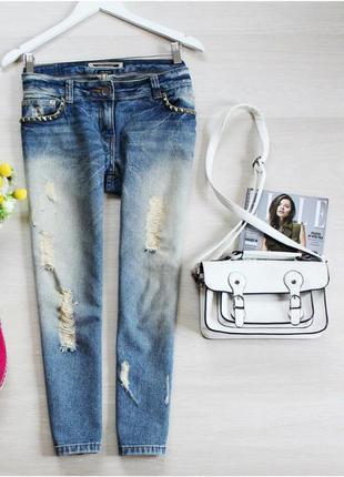 Идеальные джинсы бойфренды от river island с потертостями и заклепками
