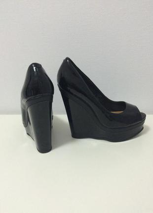 Туфли лаковые/туфли черные/туфли с открытым носком/туфли на платформе