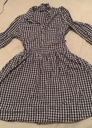 Платье в черно-белую клетку платье-рубашка
