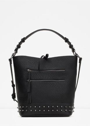 Очень крутая вместительная сумка шоппер с заклепками шипами рок стиль от zara