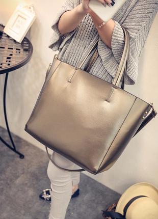 Шикарная большая сумка-шоппер, золотистая