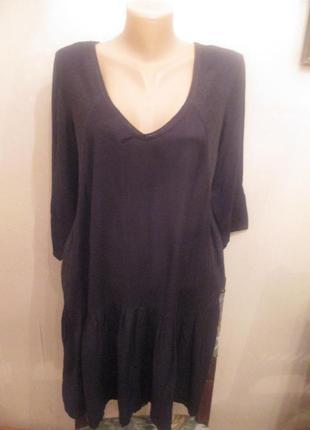 Красивое вискозное черное платье la redoute france