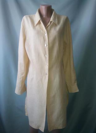 Трендовая рубашка -платье 100% лен