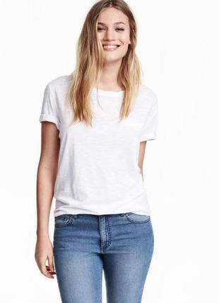 Трикотажная белая футболка н&м, s