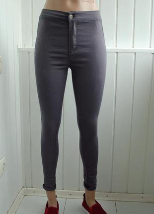 Серые базовые джинсы джеггинсы с высокой посадкой, скинни, штаники, брюки