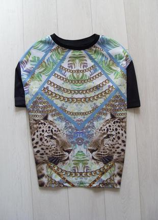 Фактурная футболка с леопардами рр. xs atmosphere