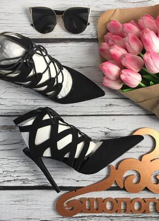 Ультрамодные летние туфли с декоративной шнуровкой на каблуке-стилете    sh 16120