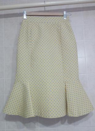 Игривая желтая жаккардоавая юбка с воланом moschino оригинал, размер xs (34)