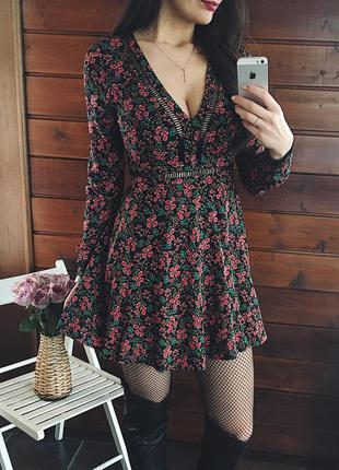 Бохо платье в цветочный принт
