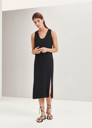 Черное платье с разрезами massimo dutti xs