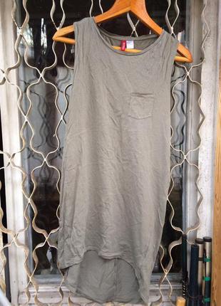 Платье топ футболка длинная h&m хаки
