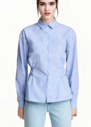 Рубашка в полоску голубая базовая h&m