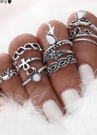 Набор/комплект колец 10 шт, фаланговые кольца цвет античное серебро