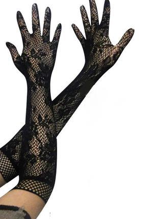 Черные кружевные ажурные перчатки, сексуальное белье, эротическое белье