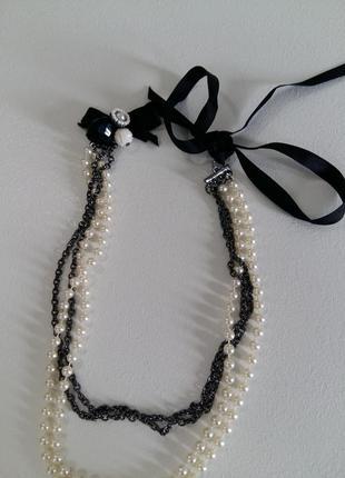 Колье ожерелье в два ряда