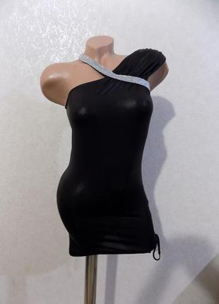 """Платье-туника коктейльное нарядное вечернее """"под кожу"""" черное размер 40-44"""