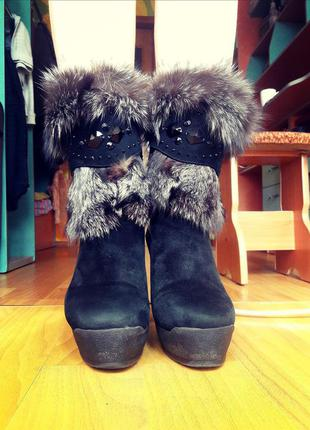 Сапоги зимние замшевые на каблуке