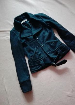 Короткое шерстяное пальто с поясом от vero moda