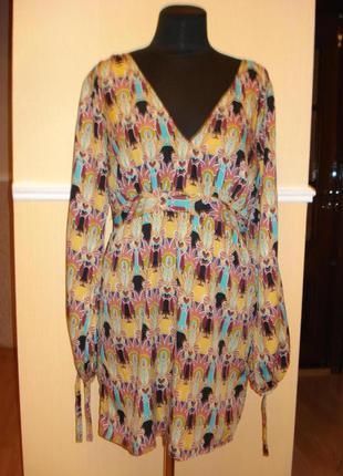 Летнее платье туника свободного кроя с принтом и длинным рукавом  подойдет для беременных
