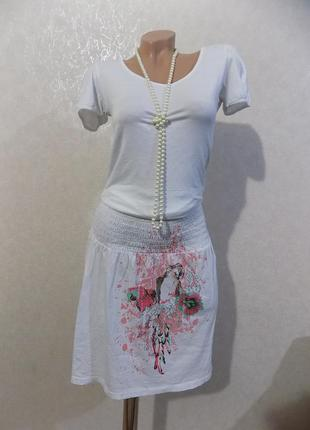 Юбка летняя на резинке коттоновая белая с рисунком фирменная garcia размер 46-50