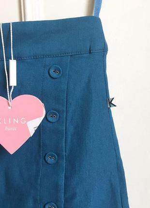 Синяя лазурная deep cyan дизайнерская актуальная юбка с пуговицами kling