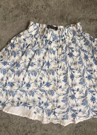 Zara blue floral pattern skirt двойная хлопковая юбка солнце клеш цветочный принт