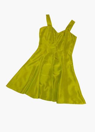 Шелковое платье, сарафан лаймового цвета