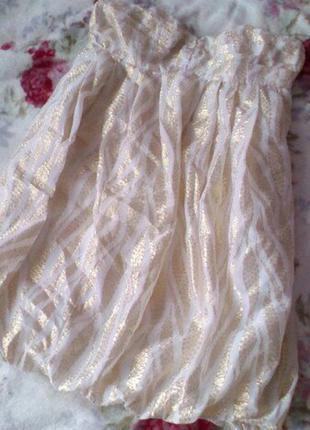 Классное нарядное платье-бюстье с золотой нитью от h&m