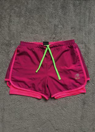 Розовые фуксия фиолетовые спортивные двойные шорты для бега karrimor mesh