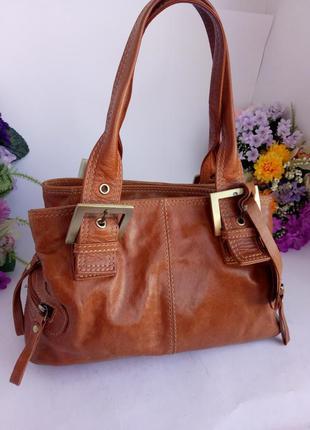Яркая эффектная рыжая кожаная сумка, натуральная кожа, clarks