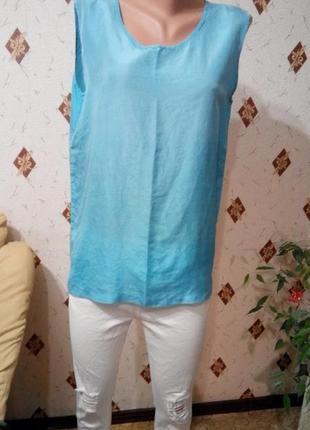 Небесно - голубой шёлковый топ блуза шёлк 100 %