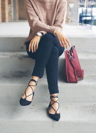 Балетки со шнуровкой ткань черные