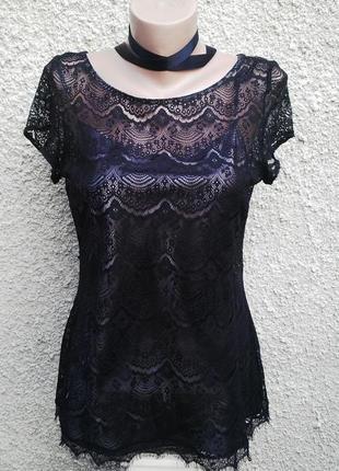 Красивая черная кружевная(гипюровая) блузка с нижней серебристой майкой wallis