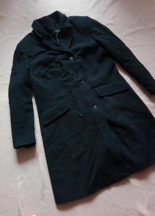 Шерстяное демисезонное пальто бойфренд, пальто oversize черного цвета от c&a