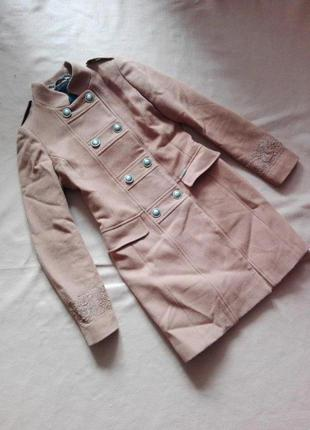 Шикарное шерстяное пальто френч коричневого цвета