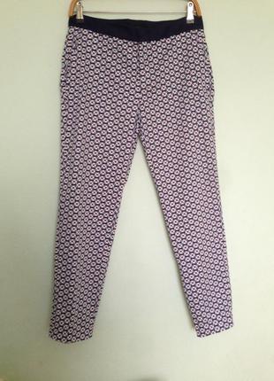 Стильные zara брюки хлопок в геометрический принт