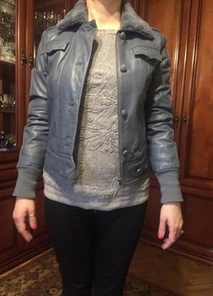 Куртка натуральная кожа adidas