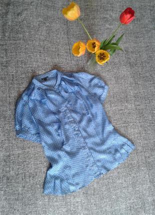Красивая шелковая натуральная блуза в цветочный принт  размер 14.смотрите замеры