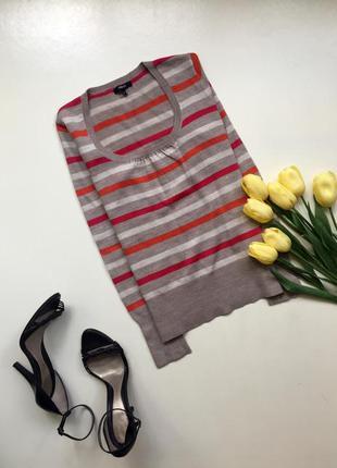 Полосатый джемпер/ кофта в полоску/ оранжевый / красный/ бежевый пуловер