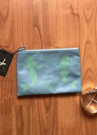 Новый мятный клатч/ кошелек/ косметичка с русалками atmosphere с этикеткой
