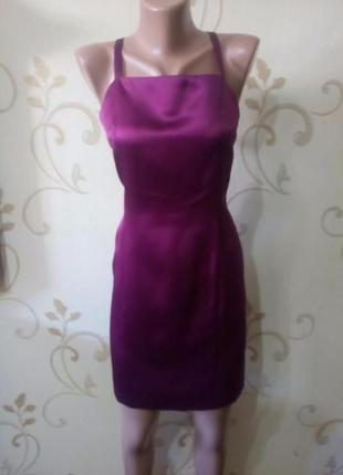 Коктейльное атласное платье. в отличном состоянии. размер 10.