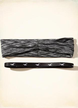 Hollister комплект бандана + обруч повязка ( резинка ) на голову, для волос. черная меланж
