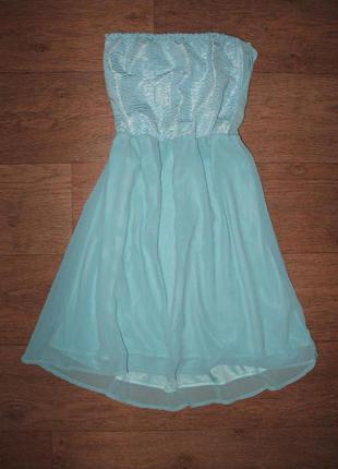 Bershka, милый сарафанчик, платье-бюстье, мини, без лямок, размер xs-m