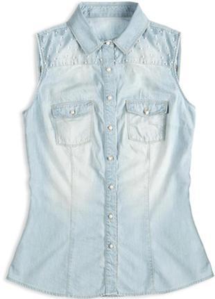 """Джинсовая рубашка без рукавов colin's с бусинками цвет """"потертый"""" светлый джинс"""
