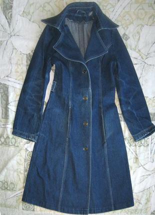 Джинсовый плащ пальто тренч - эксклюзив 42-44 р