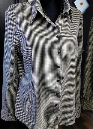 Приталенная рубашка стрейч с высоким манжетом