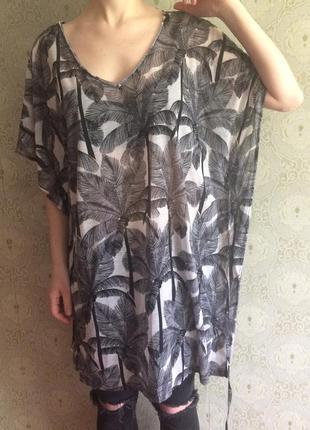 Туника платье футболка длинная в пальмы