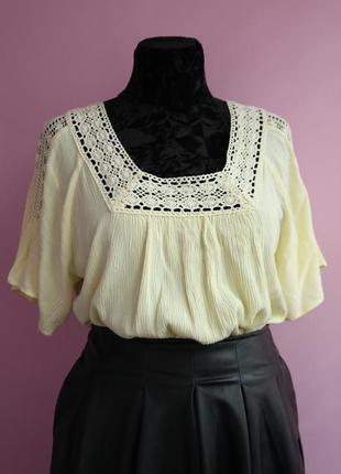 Лимонная блуза в стиле бохо. романтичная блуза  свободного кроя с кружевом макраме